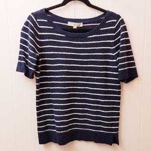 loft | blue striped short sleeve light sweater S
